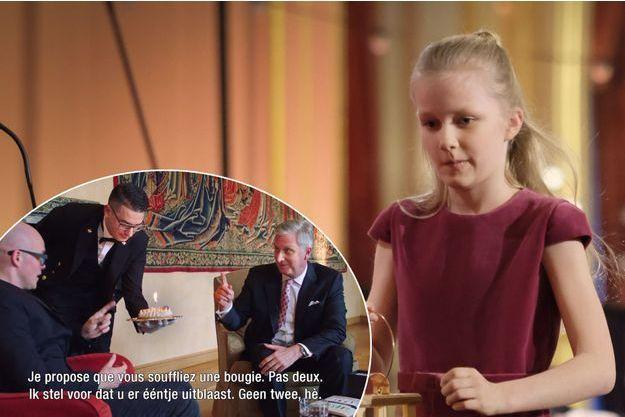 La princesse Eléonore de Belgique, le 19 décembre 2018. En vignette, le roi des Belges Philippe avec Philippe Geubels, le 15 avril 2019