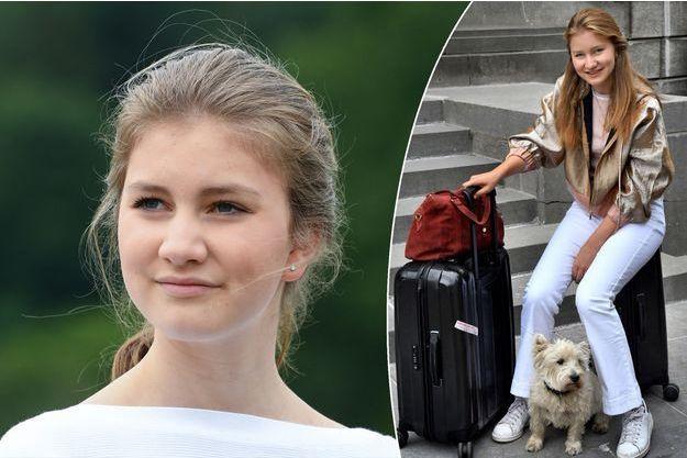 La princesse Elisabeth de Belgique le 24 juin 2018. En médaillon, sur le départ pour le Royaume-Uni, photo diffusée le 27 août 2018