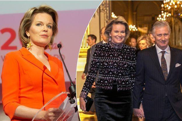 La reine des Belges Mathilde à Bruxelles, le 27 février 2019. A droite, avec le roi Philippe au Palais royal le 28 février 2019
