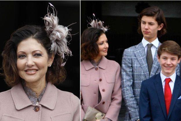 La comtesse Alexandra de Frederiksborg et ses fils les princes Nikolai et Felix, le 1er avril 2017