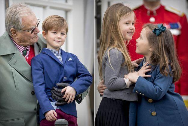 Le prince Vincent de Danemark avec son grand-père le prince consort Henrik et les princesses Josephine et Athena de Danemark le 16 avril 2017