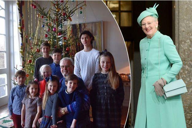 La reine Margrethe II de Danemark le 30 avril 2016. En médaillon: avec le prince Henrik et leurs huit petits-enfants en décembre 2016