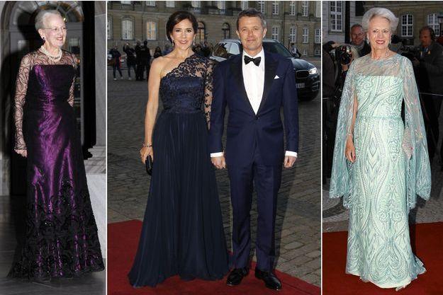 La reine Margrethe II de Danemark, le prince héritier Frederik et les princesses Mary et Benedikte, le 29 avril 2019 à Copenhague