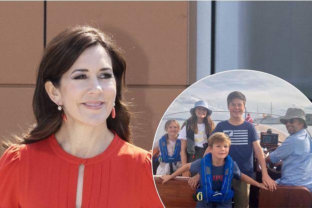 La princesse Mary de Danemark le 22 mai 2019. En vignette, le prince Frederik de Danemark et ses enfants en août 2019