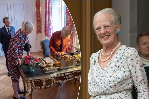 La reine Margrethe II de Danemark à Copenhague le 28 août 2018. A gauche, le lendemain avec Emmanuel et Brigitte Macron