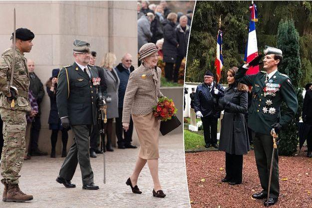 La reine Margrethe II de Danemark à Aarhus, la princesse Marie et le prince Joachim de Danemark à Braine en France, le 11 novembre 2018