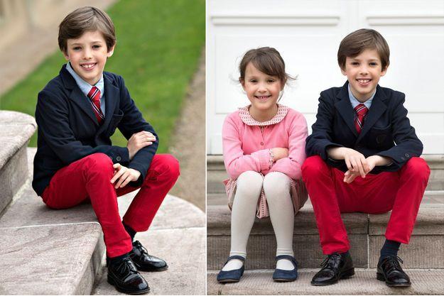 Le prince Henrik de Danemark. A droite, avec sa soeur la princesse Athena. Photos diffusées le 4 mai 2018 pour ses 9 ans