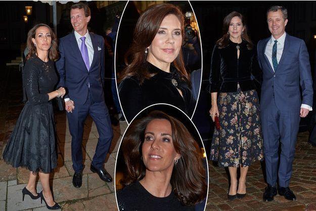 Les princesses Marie et Mary et les princes Joachim et Frederik de Danemark à leur arrivée au château de Fredensborg, le 20 février 2019
