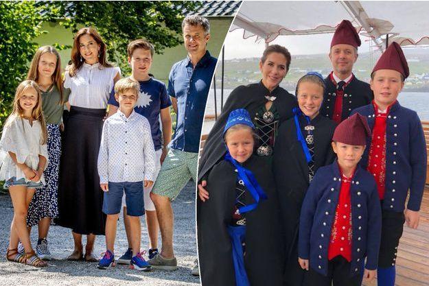 La princesse Mary et le prince Frederik de Danemark le 15 juillet 2018. A droite, en costume des îles Féroé, le 23 août 2018