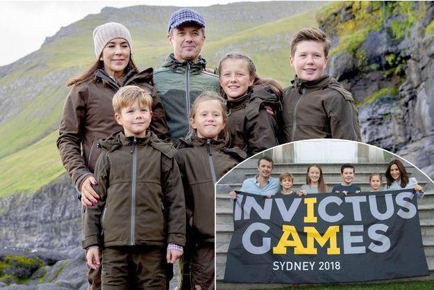 La princesse Mary et le prince Frederik de Danemark avec leurs enfants le 27 août 2018. En vignette, soutenant les Invictus Games 2018