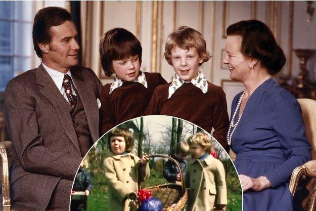 Les princes Frederik et Joachim de Danemark avec le prince consort Henrik et la reine Margrethe II en 1973. En vignette, leur chasse aux oeufs de Pâques à cette époque
