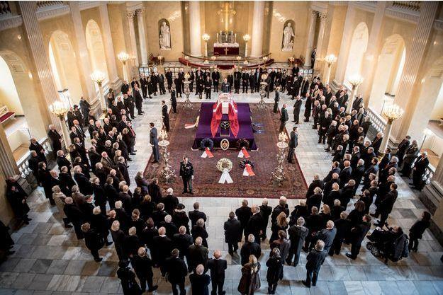 Cérémonie pour 200 invités en hommage au prince Henrik de Danemark à Copenhague, le 19 février 2018