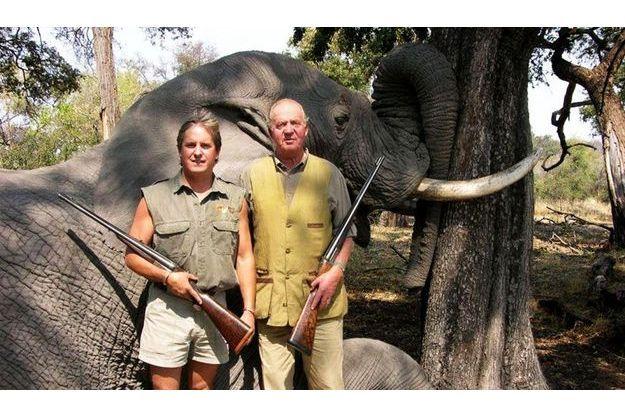 Juan Carlos lors d'un safari au Botswana en 2006