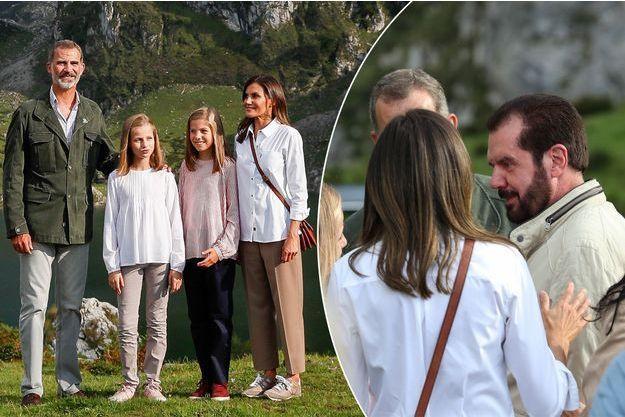 La princesse Leonor d'Espagne avec ses parents la reine Letizia et le roi Felipe VI et sa soeur la princesse Sofia dans les Asturies le 8 septembre 2018. A droite, avec Jesus Ortiz