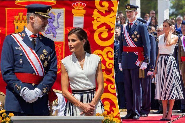 La reine Letizia et le roi Felipe VI d'Espagne à San Javier, le 11 juillet 2019