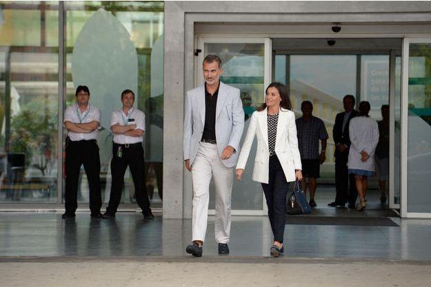 La reine Letizia et le roi Felipe VI d'Espagne à Madrid, le 25 août 2019
