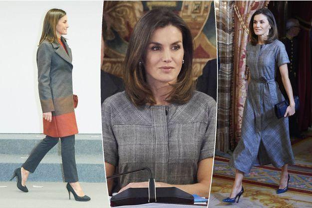 La reine Letizia d'Espagne à Madrid, le 11 décembre (au centre et à droite) et le 12 décembre (à gauche) 2018