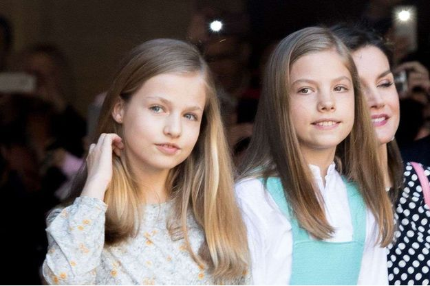 Les princesses Leonor et Sofia d'Espagne, le 1er avril 2018