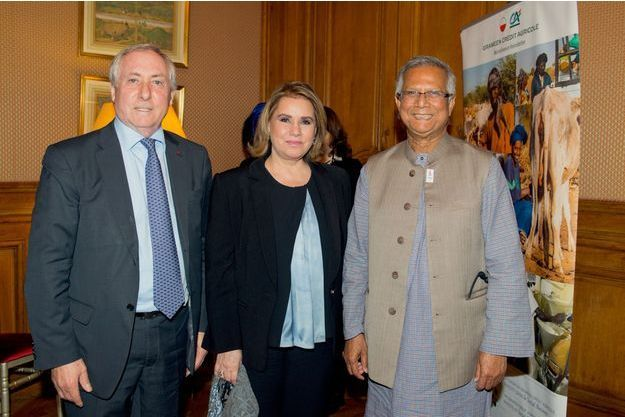 Jean-Marie Sander, Président de la Fondation Grameen C.A., SAR La Grande Duchesse Maria Teresa de Luxembourg, et le Professeur Yunus.