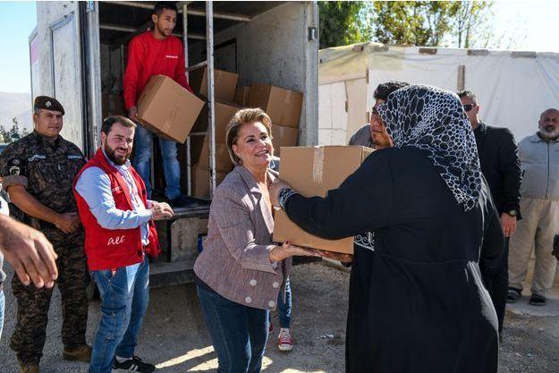 La grande-duchesse Maria Teresa de Luxembourg en visite humanitaire au Liban, le 30 octobre 2018