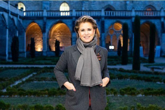 La grande-duchesse Maria Teresa de Luxembourg dans le cloître de l'abbaye de Royaumont, le 30 novembre 2018