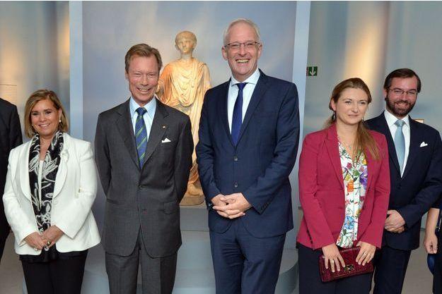 La grande-duchesse Maria Teresa et le grand-duc Henri de Luxembourg, le prince Guillaume et la princesse Stéphanie, à Trèves le 5 octobre 2016