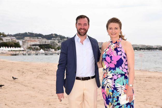 La princesse Stéphanie de Luxembourg avec son mari le grand-duc héritier Guillaume à Cannes pour le Festival, le 17 mai 2017