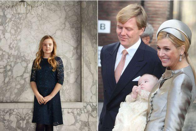 La princesse Ariane des Pays-Bas, en mars 2018, photo diffusée pour ses 12 ans le 10 avril 2019. A droite, avec ses parents lors de son baptême le 20 octobre 2007