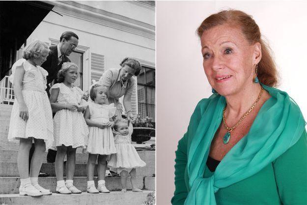 La princesse Christiana. A gauche, le 5 août 1948 avec ses parents et ses trois sœurs aînées au palais Soestdijk à Baarn