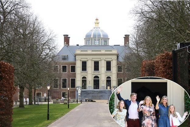 Le palais Huis ten Bosch rénové, à La Haye le 10 janvier 2019. En vignette, le roi Willem-Alexander des Pays-Bas, la reine Maxima et leurs filles à Wassenaar le 13 juillet 2018