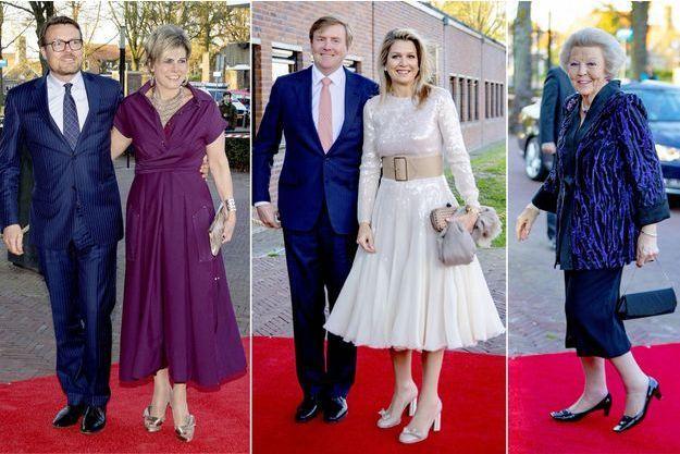 Le prince Constantijn et la princesse Laurentien, le roi Willem-Alexander et la reine Maxima, l'ex-reine Beatrix des Pays à Amersfoort, le 15 avril 2019