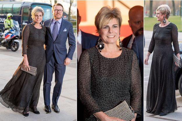 Le look de la princesse Laurentien à Amsterdam, le 11 avril 2019
