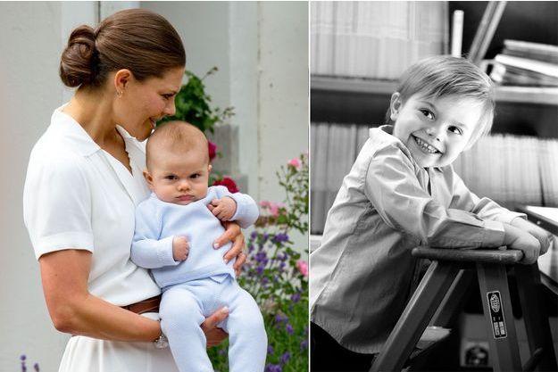 Le prince Oscar de Suède avec sa mère la princesse Victoria, le 14 juillet 2016 - A droite, photo diffusée pour ses 3 ans, le 2 mars 2019