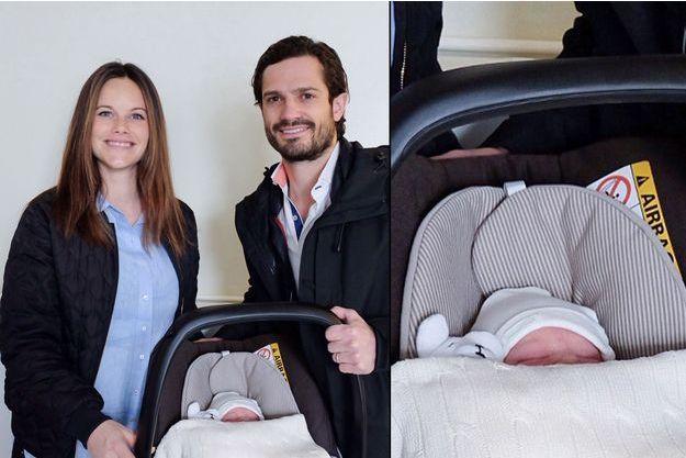 La princesse Sofia, née Hellqvist, et le prince Carl Philip de Suède avec leur bébé le prince Alexander à Stockholm, le 20 avril 2016