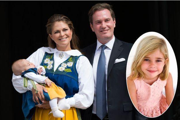 La princesse Leonore de Suède bébé avec ses parents, la princesse Madeleine et Christopher O'Neill, le 6 juin 2014. En vignette, photo diffusée pour ses 5 ans le 20 février 2019