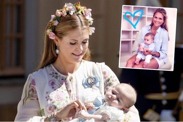 La princesse Madeleine de Suède et sa fille la princesse Adrienne, le 8 juin 2018. En médaillon, photo diffusée le 9 juillet 2018