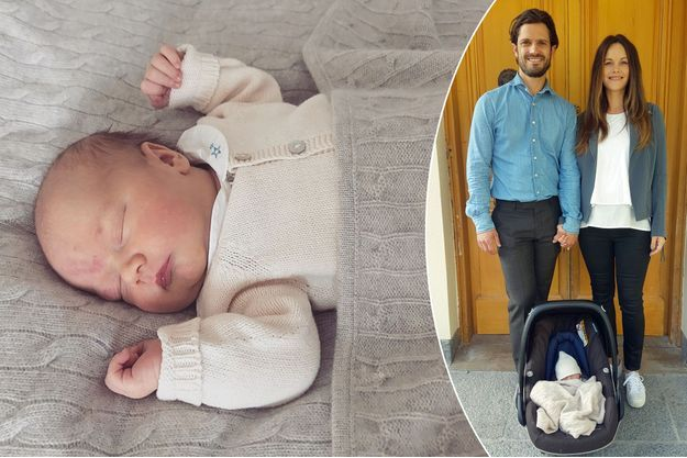 Le prince Gabriel de Suède et ses parents le prince Carl Philip et la princesse Sofia, née Hellqvist, en septembre 2017