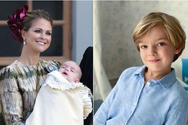 Le prince Nicolas de Suède dans les bras de la princesse Madeleine le 11 octobre 2015, jour de son baptême. A droite, portrait diffusé pour ses 4 ans