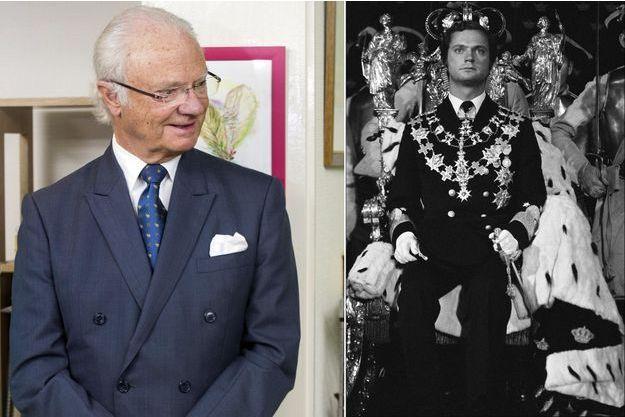 Le roi Carl XVI Gustaf de Suède le 25 avril 2018. A droite, le jour de son couronnement, le 19 septembre 1973