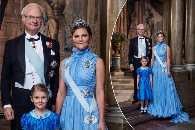 Portrait officiel des princesses Victoria et Estelle et du roi Carl XVI Gustaf de Suède, révélé le 5 février 2018