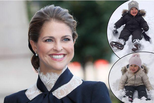 La princesse Madeleine de Suède le 13 septembre 2016. En vignette ses enfants le prince Nicolas et la princesse Leonore.