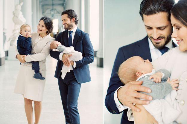Le prince Gabriel de Suède avec ses parents la princesse Sofia, née Hellqvist, et le prince Carl Philip et son grand frère le prince Alexander, en octobre 2017