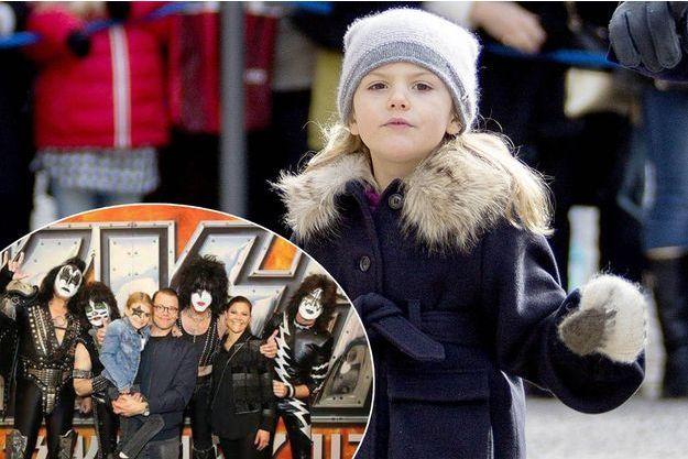 La princesse Estelle de Suède le 12 mars 2017. En vignette: avec ses parents la princesse Victoria et le prince Daniel et le groupe Kiss le 6 mai 2017