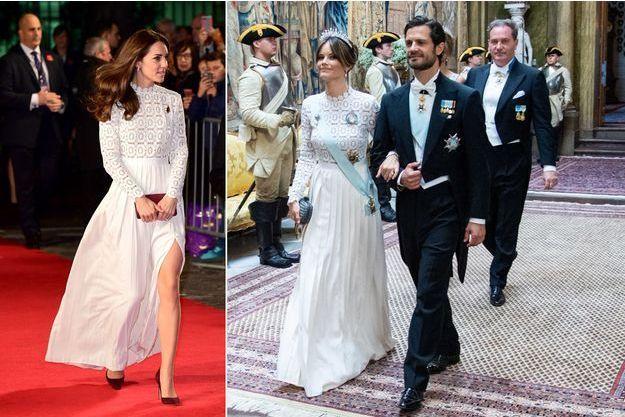 La duchesse Catherine de Cambridge à Londres le 3 novembre 2016 - La princesse Sofia de Suède à Stockholm le 14 juin 2019