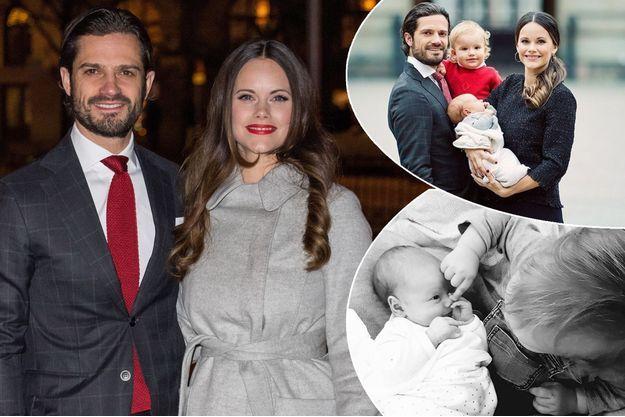 Le prince Carl Philip de Suède et la princesse Sofia, le 21 décembre 2017. En vignette, photos de leurs enfants diffusées sur leur compte Instragram