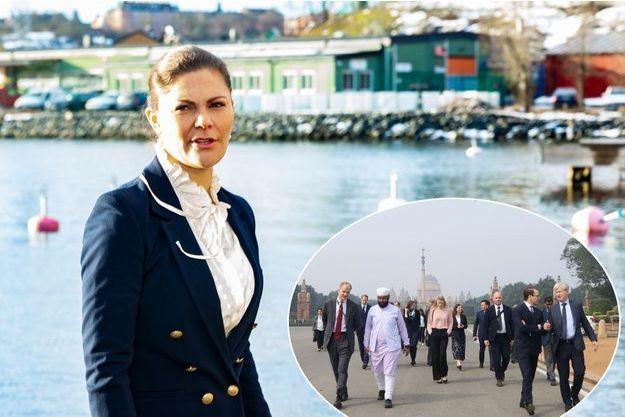 La princesse Victoria de Suède à Stockholm et son mari le prince Daniel à New Delhi en Inde, le 13 février 2019
