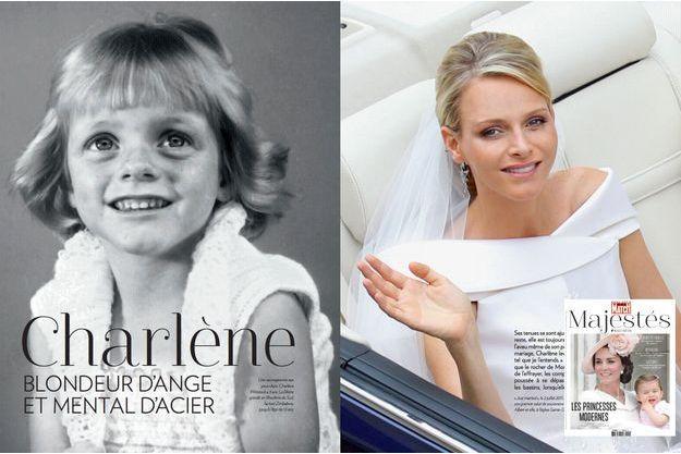"""Charlène, princesse moderne dans le hors-série Majestés. A gauche: Charlène, à 3 ans. A droite, """"just married"""", le 2 juillet 2011, à Monaco."""