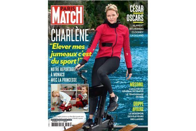 En une de Paris Match, le 27 février, Charlène s'entraîne sur son Water Bike à la grande course de sa fondation. Pendant ce temps, Jacques et Gabriella se reposent.