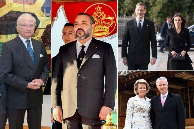 Le roi Carl XVI Gustaf de Suède, le roi Mohammed VI du Maroc, le roi Felipe VI et la reine Letizia d'Espagne, le roi des Belges Philippe et la reine Mathilde, en 2019