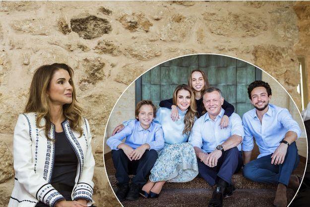 La reine Rania de Jordanie le 30 octobre 2017. En médaillon, la photo des voeux 2018 de la famille royale jordanienne